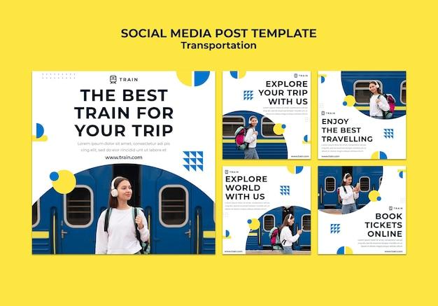 Kolekcja postów na instagramie dla transportu publicznego pociągiem z kobietą