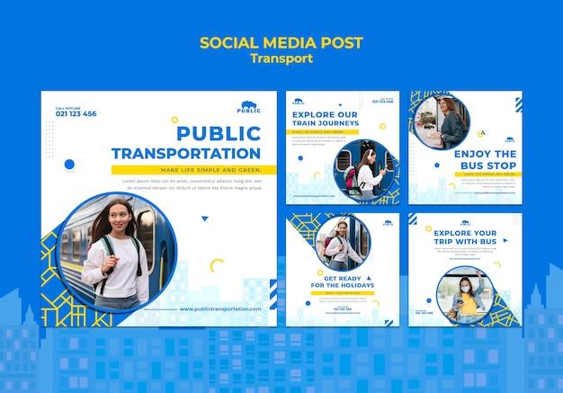 Kolekcja postów na instagramie dla transportu publicznego z kobietami dojeżdżającymi do pracy