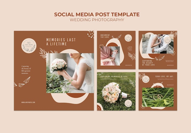 Kolekcja postów na instagramie dla usługi fotografii ślubnej