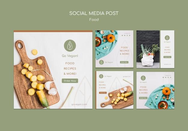 Kolekcja postów na instagramie dla wegańskiego jedzenia