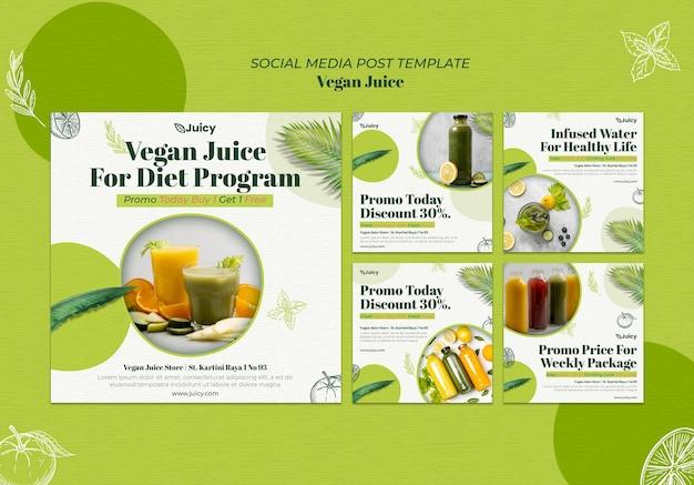 Kolekcja postów na instagramie dla wegańskiej firmy dostarczającej soki