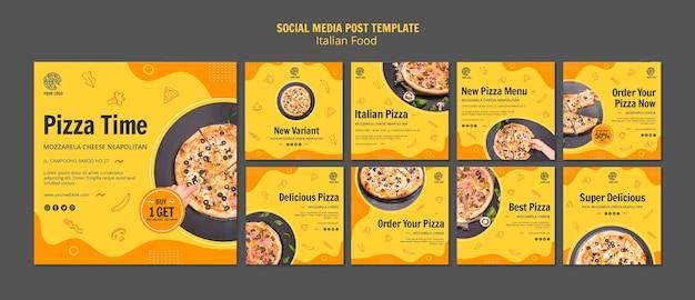 Kolekcja postów na instagramie dla włoskiego bistro z jedzeniem