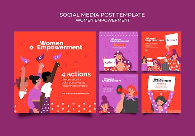 Kolekcja postów na instagramie dla wzmocnienia pozycji kobiet