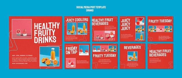 Kolekcja postów na instagramie dla zdrowego soku owocowego