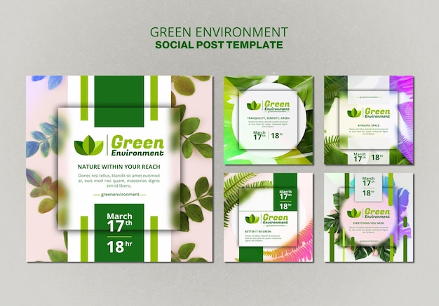 Kolekcja postów na instagramie dla zielonego środowiska