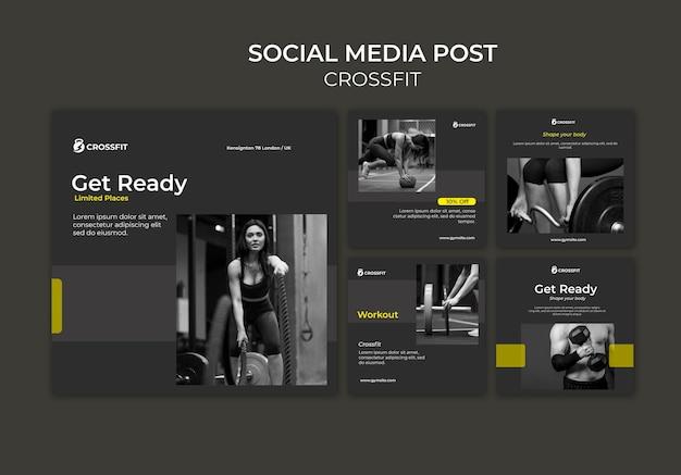 Kolekcja postów na instagramie do ćwiczeń crossfit