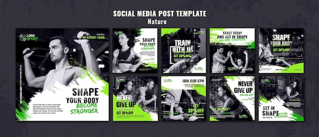 Kolekcja postów na instagramie do ćwiczeń i treningu na siłowni