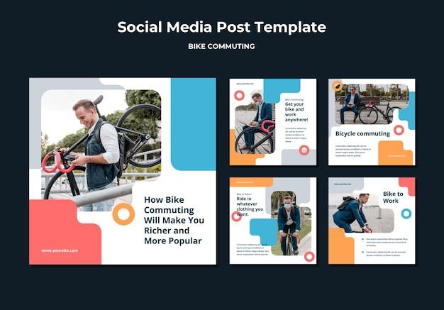 Kolekcja postów na instagramie do dojazdów rowerem z pasażerem płci męskiej