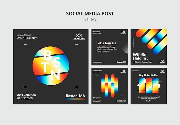 Kolekcja postów na instagramie do ekspozycji sztuki współczesnej
