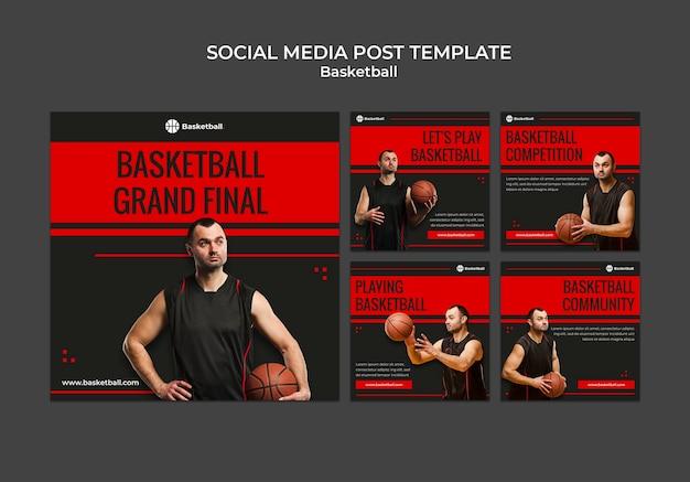 Kolekcja postów na instagramie do gry w koszykówkę z męskim graczem