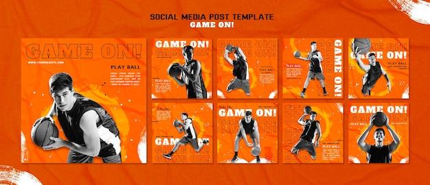 Kolekcja postów na instagramie do gry w koszykówkę