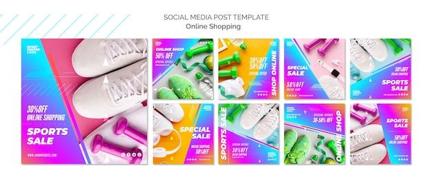 Kolekcja postów na instagramie do internetowej sprzedaży sportowej