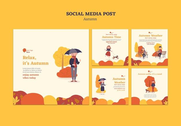 Kolekcja postów na instagramie do jesiennych zajęć na świeżym powietrzu
