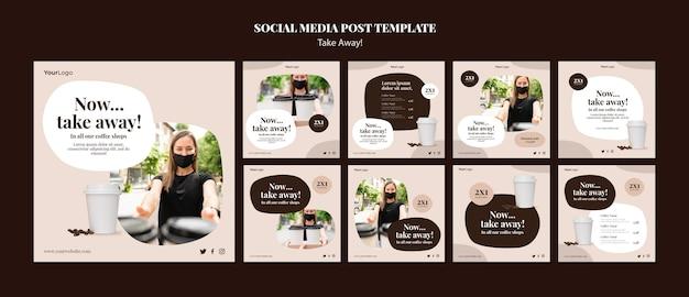 Kolekcja postów na instagramie do kawy na wynos