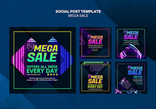 Kolekcja postów na instagramie do mega sprzedaży