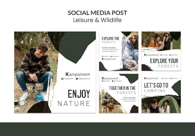 Kolekcja postów na instagramie do odkrywania przyrody i wypoczynku