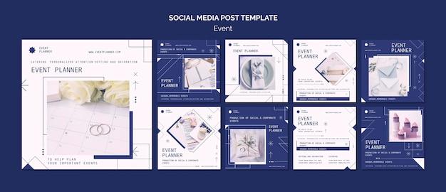 Kolekcja postów na instagramie do planowania wydarzeń towarzyskich i firmowych