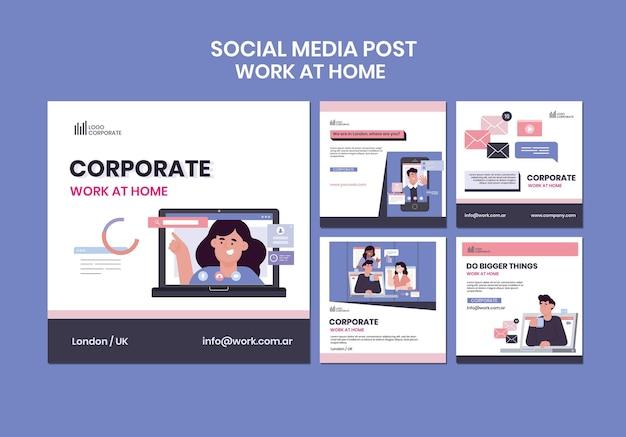 Kolekcja postów na instagramie do pracy w domu