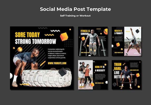 Kolekcja postów na instagramie do samodzielnego treningu i ćwiczeń