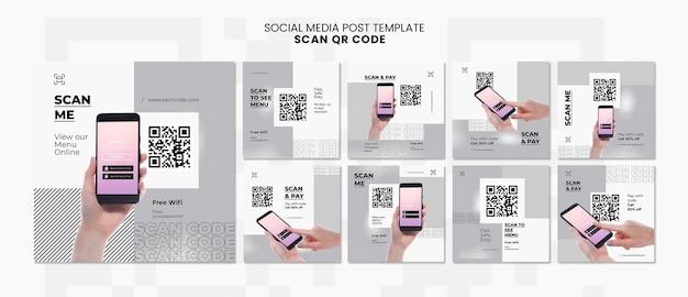 Kolekcja postów na instagramie do skanowania kodu qr za pomocą smartfona