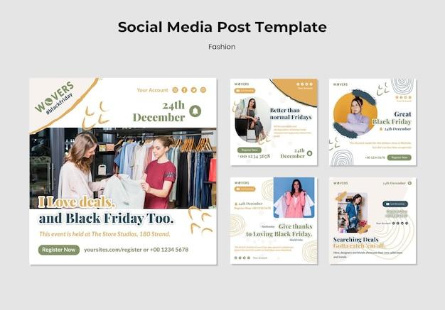 Kolekcja postów na instagramie do sprzedaży mody