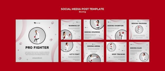 Kolekcja postów na instagramie do treningu bokserskiego