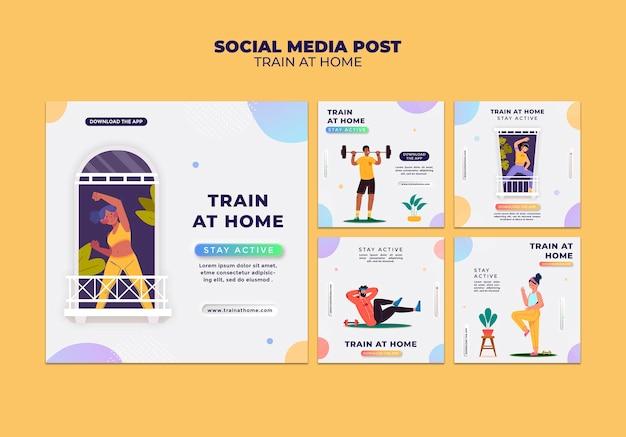 Kolekcja postów na instagramie do treningu fitness w domu
