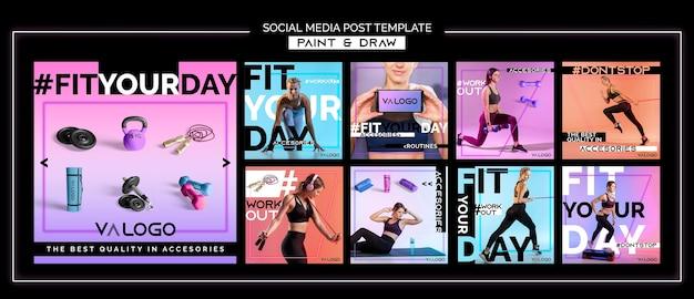 Kolekcja postów na instagramie do treningu fitness