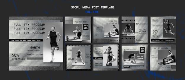 Kolekcja postów na instagramie do treningu trx z męskim atletą