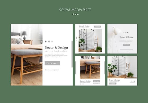 Kolekcja postów na instagramie do wystroju i projektowania domu