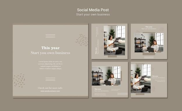 Kolekcja postów na instagramie do założenia własnej firmy
