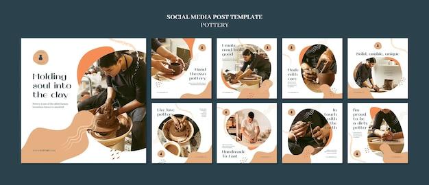 Kolekcja postów na instagramie dotyczących ceramiki z glinianymi naczyniami