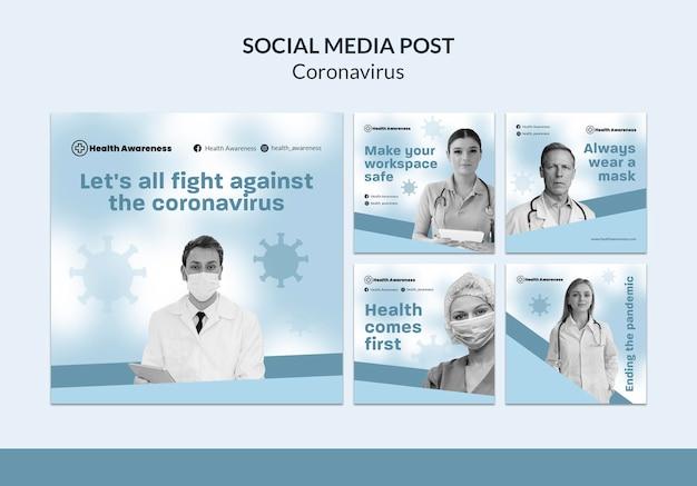 Kolekcja postów na instagramie dotyczących pandemii koronawirusa
