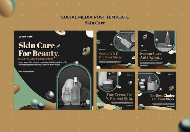 Kolekcja postów na instagramie dotyczących produktów do pielęgnacji skóry