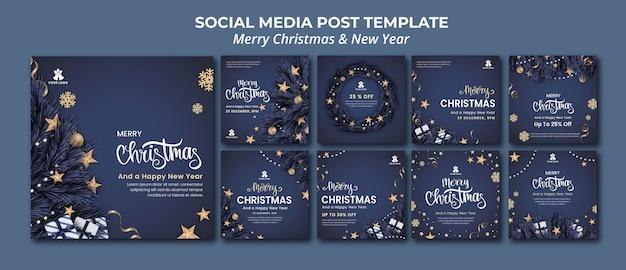 Kolekcja postów na instagramie na boże narodzenie i nowy rok