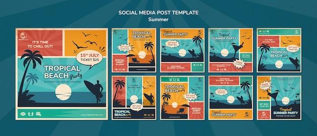 Kolekcja postów na instagramie na imprezę na tropikalnej plaży