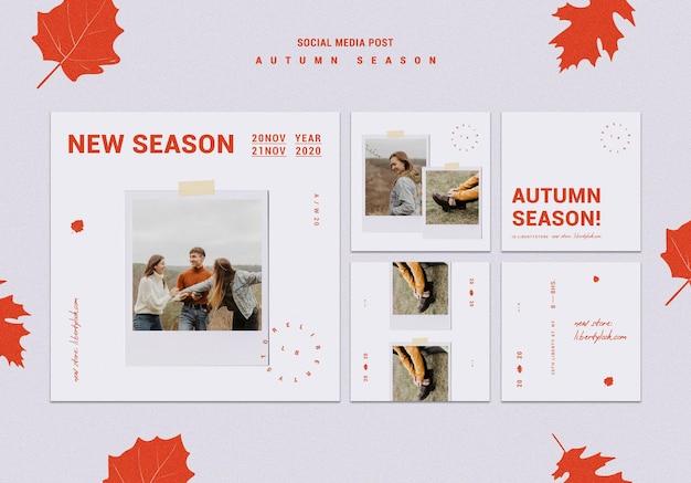 Kolekcja postów na instagramie na jesienną nową kolekcję odzieży