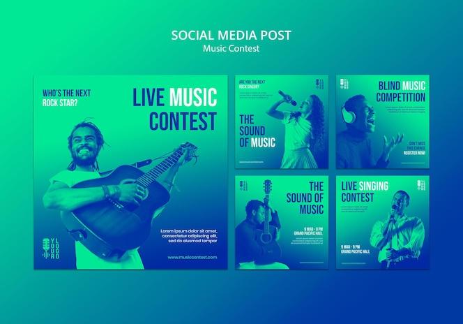 Kolekcja postów na instagramie na konkurs muzyczny na żywo z wykonawcą