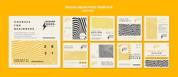 Kolekcja Postów Na Instagramie Na Kursy Projektowania Graficznego Premium Psd