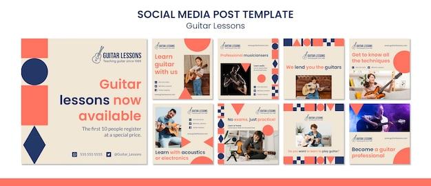 Kolekcja postów na instagramie na lekcje gry na gitarze