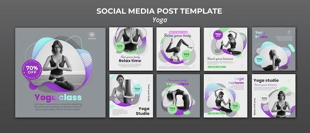 Kolekcja postów na instagramie na lekcje jogi
