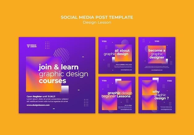 Kolekcja postów na instagramie na lekcje projektowania graficznego