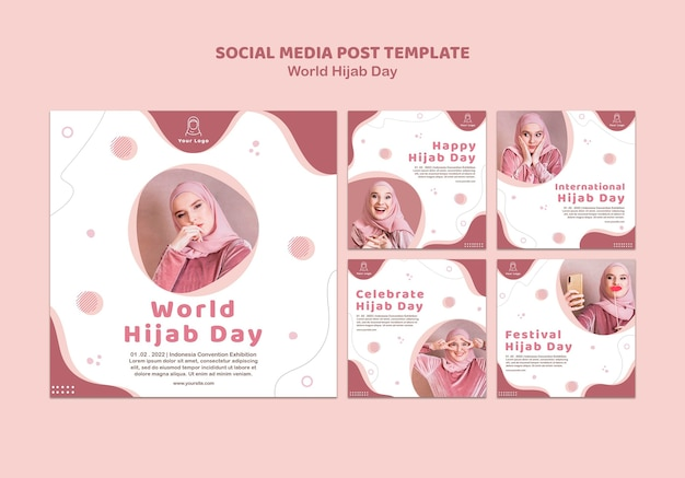 Kolekcja postów na instagramie na obchody światowego dnia hidżabu