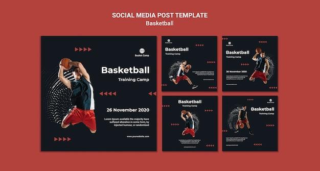 Kolekcja postów na instagramie na obóz treningowy koszykówki
