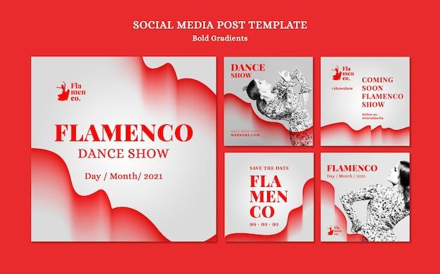 Kolekcja postów na instagramie na pokaz flamenco z tancerką
