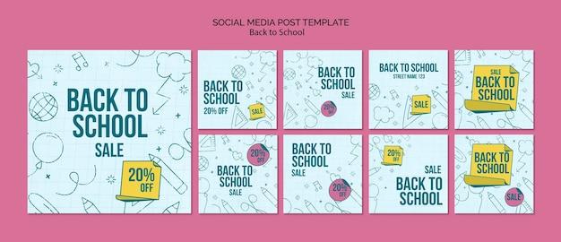 Kolekcja postów na instagramie na powrót do szkoły