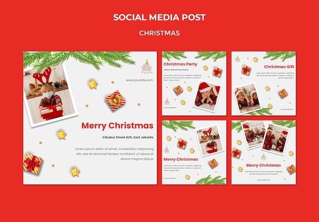 Kolekcja postów na instagramie na przyjęcie świąteczne z dziećmi w czapkach mikołaja