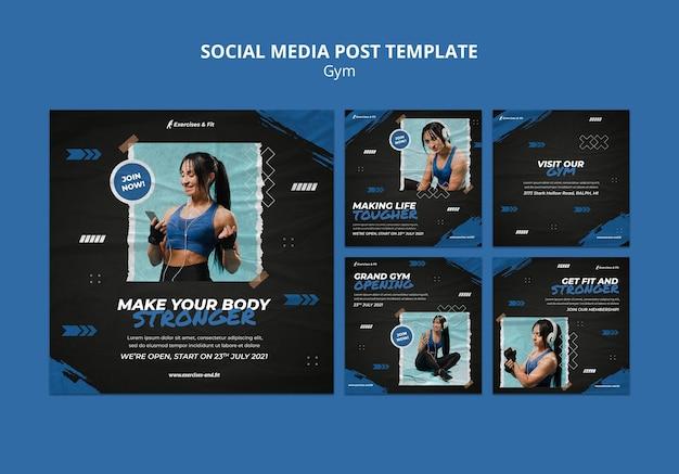 Kolekcja postów na instagramie na siłownię z kobietami sportowcami