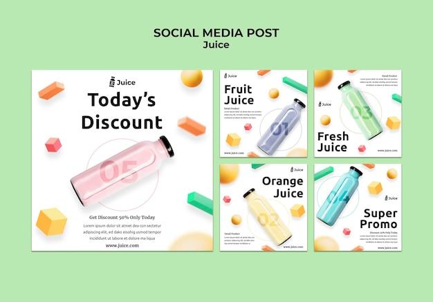 Kolekcja postów na instagramie na sok owocowy w szklanej butelce