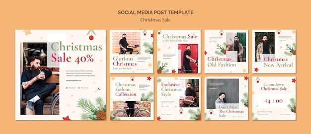 Kolekcja postów na instagramie na świąteczną wyprzedaż